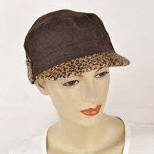New COLLECTION EIGHTEEN 18 Wool Faux Leopard Fur Military Cap Womens Hat Brown