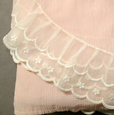 Linens Bedspread Bed Cover Coverlet Twin - Vintage Sheer Scallop Voile 1940s
