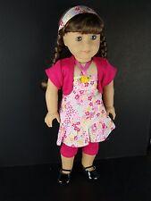 4 Pc Pink Capri's Floral Shirt, Pink Jacket, Headband for 18 Inch Dolls