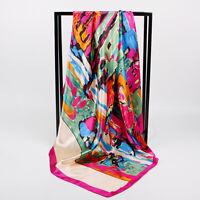 "Women's Pink Building Paint Fashion Print Satin Square Scarf Head Shawl 35""*35"""