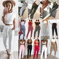 Women High Waisted Paperbag Trousers Ladies Cigaratte Pencil Slim Long Pants