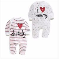 Baby clothes newborn boys girls bodysuit 100% cotton jumpers love Mum dady