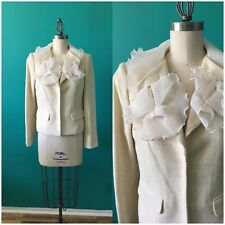 Magaschoni Jacket Blazer Ruffles Cream