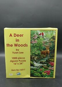 """SunsOut 1000 Piece Puzzle """"A Deer in the Woods"""" by Artist Yuan Lee"""