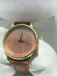 Unisex Wood Analogue Quartz Gold Plated  40 mm dial Leather Strap Watch