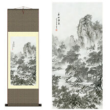 "Home decor Chinese silk scroll painting Mountains painting ""春山访友"" decoration"