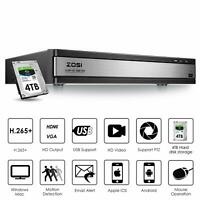 ZOSI H.265+ 16CH 1080p DVR with Hard Drive 4TB for Home Security Camera System
