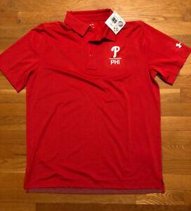 Under Armour Philadelphia Phillies Golf Polo Mens Size Large Nwt 1348913-604