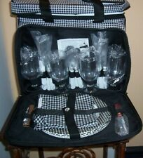 NEW Insulated 4 Person Picnic Basket w/ Complete Set Utensils & Plates