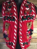 CHRISTMAS Teddy Bears Women's Vest Sweater Size M
