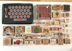 70 Job Lot Wooden Rubber Stamps For Card Making / Scrapbooking , Mostly New