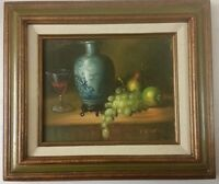 1900s Original Oil Painting Still Life Canvas signed P Chiron Realism US