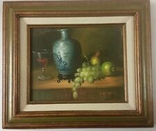 Original Oil Painting Still Life Canvas signed P Chiron 1900s Realism US