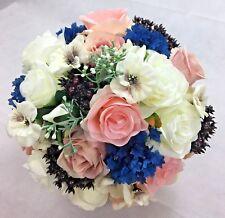 Artificial Flower Dusty Pink/Pink/Cream Roses/Dark Blue Flowers Bridal Bouquet