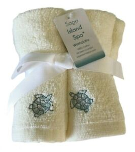"""Sea Turtles Embroidered Washcloths Facecloths 12x 12"""" Set of 5 Ivory Blue Beach"""