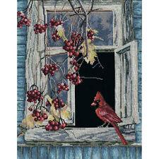 RTO Counted Cross Stitch Kit Old Window 17.75 x 11.75 inch Birds Cardinal Nature