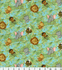 JUNGLE BABIES NURSERY  BY PATTY REED 100% COTTON FLANNEL FABRIC BY THE 1/2  YARD