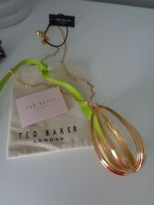 BN Ted Baker Gold Ellii 3D Curved Shape Pendant Necklace with Gift Pouch
