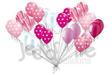 24 pc Pink Hearts Latex Balloons Party Decoration Baby Birthday Love Wedding