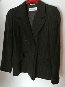 Max Mara Blazer Brown Stripe Size 16 autumn winter style wool blend jacket