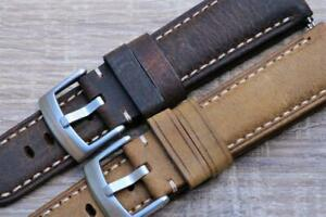 Watch Strap Genuine Calf Leather Distressed Look Hand Stitching Padded 22mm