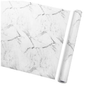 10m White Marble Self Adhesive Wallpaper Wall Stickers Kitchen Decor Waterproof
