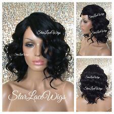 Synthetic Full Wigs For Women Bob Wavy Short Jet Black #1 Side Part Heat Safe Ok