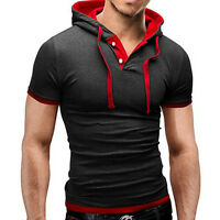 Fashion Mens Hooded Short Sleeve T Shirt Slim Fit Muscle Hoodies Tee Shirt Tops