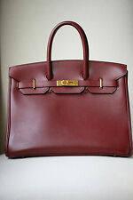 Hermes Classic 35cm Rouge H di vitello d'oro hardware Birkin bag