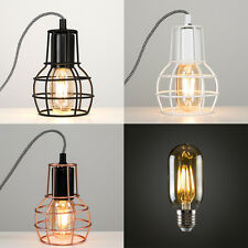 Industrial Style Metal Cage Bedside Table Lamp Lounge Light LED Vintage Bulb