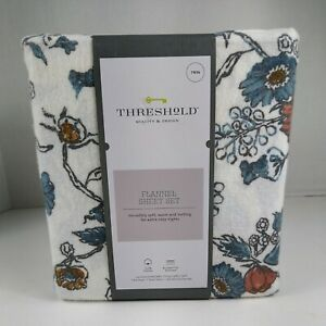 3pc THRESHOLD Printed Flannel Sheet Set | Floral | TWIN |