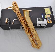 Professional Gold Taishan Baritone Eb Saxophone Low A  Abalone shell key 2 neck