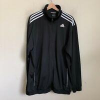 Adidas Mens Track Jacket Black Zip Pockets White 3 Stripe Polyester Size 2XL