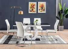 Romano Black White High Gloss Glass Dining Table Set and 6 Leather Chairs Seats