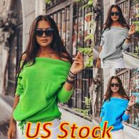 US Women Sexy Loose Off-the-Shoulder Pullover Sweater Pocket Knit Tops Blouse