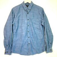 Eddie bauer classic long sleeve chambray top shirt blue size small mens