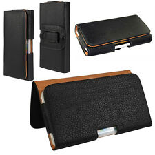 Pu Leather Universal Black Phone Case Cover Pouch Bag Sleeve Belt Clip Loop Hip