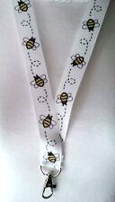WHITE BEE ribbon lanyard safety breakaway ID badge holder beekeeper student gift