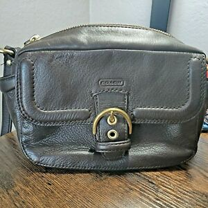 😍COACH LEATHER CAMPBELL CAMERA BAG PURSE! F25150 BROWN ZIP BRASS HARDWARE
