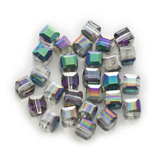50 Piece Cut Faceted Square Shaped Jewelry Making Crystal Glass Beads 4-8mm