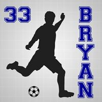 Soccer player boys name vinyl decal,Soccer silhouette number wall room sticker