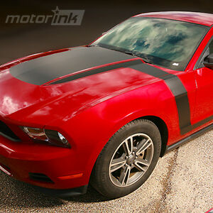 2010-2012 Ford Mustang Boss Style Hood Fender to Side Stripes Decals Matte Black