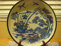 "Vintage Japanese Hand Painted Blue/Red/Gold Large Bowl, 12 1/2"" D X 2 1/2"" H"