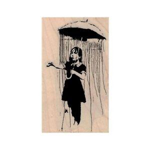 NEW Banksy Rain Under Umbrella Girl RUBBER STAMP, Rainy Day, Open Umbrella
