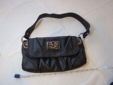 Guess purse handbag black faux ostrich black silver hardware GUC tote bag travel