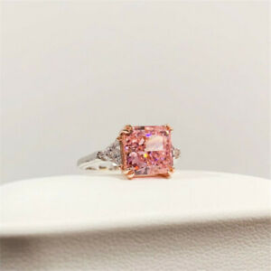 Gorgeous Pink Sapphire Jewelry Ring Women 925 Silver Engagement Rings Size 5-10