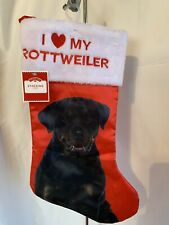 I LOVE MY ROTTWEILER Red Black Christmas Stocking Faux Fur Embroidery NWT