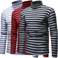 US Fashion Men Cotton High Collar Striped Turtleneck Skinny Long Sleeve Sweaters