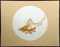 "Robert Katona ""Volcano"" Hand Signed Art serigraph brown & white Artwork OBO"