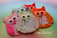 Felt and Fabric Owls (pack of 2)  Die Cut Craft Embellishments